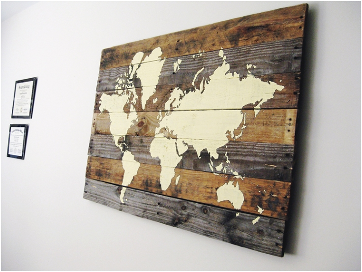 World Map Wall Decor Wood : Simple ways to get the industrial look venuescape
